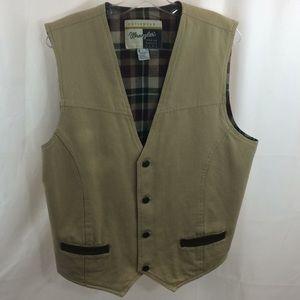 Wrangler Outerwear Mens Plaid Flannel Lined Vest